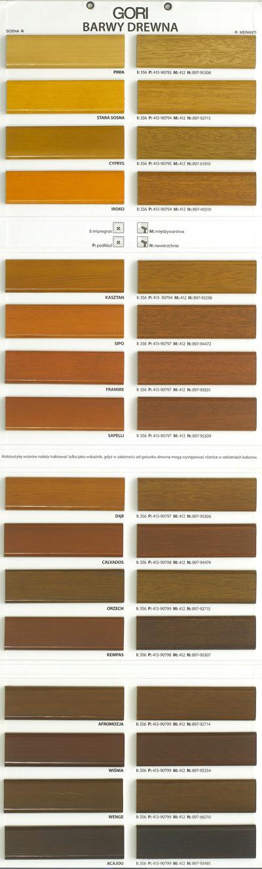 Paleta kolorów farb okiennych